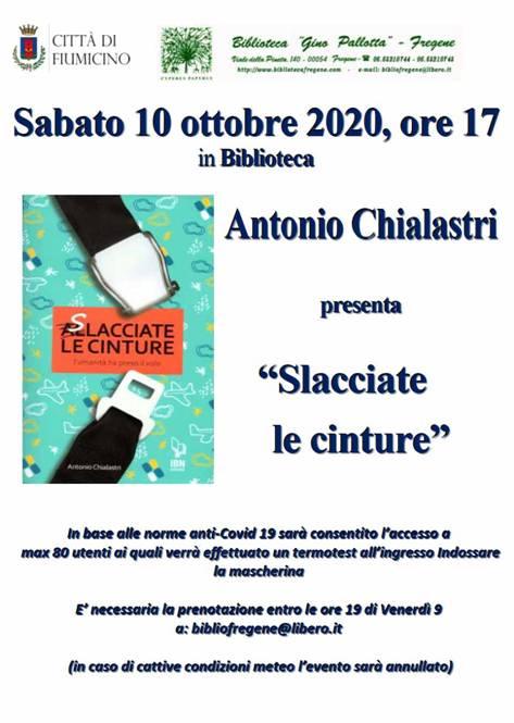 """Presentazione del libro """"SLACCIATE LE CINTURE"""" di ANTONIO CHIALASTRI"""