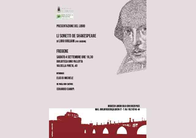 """""""Li sonetti di Shakespeare"""" 4 settembre, ore 18,30"""