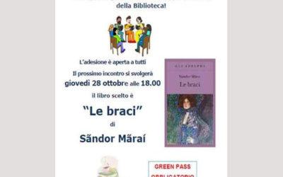 Gruppo di Lettura: Le Braci di Sandor Marai, 28 ottobre, ore 18